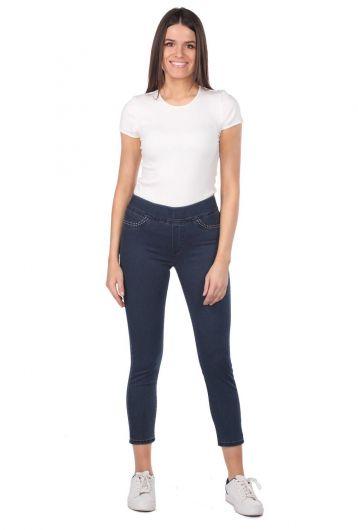 BLUE WHITE - Сине-белые женские джинсовые брюки с карманами и детализированными леггинсами (1)