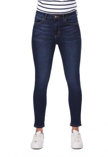 Blue White Women Jean Trousers - Thumbnail