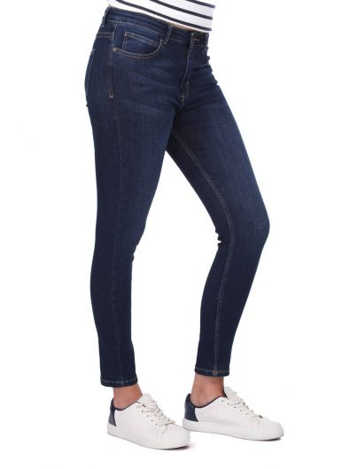 BLUE WHITE - Синие белые женские джинсовые брюки (1)