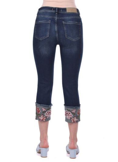 Blue White Floral Flared Jean Trousers - Thumbnail