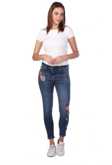 Blue White Women's Floral Jean Trousers - Thumbnail