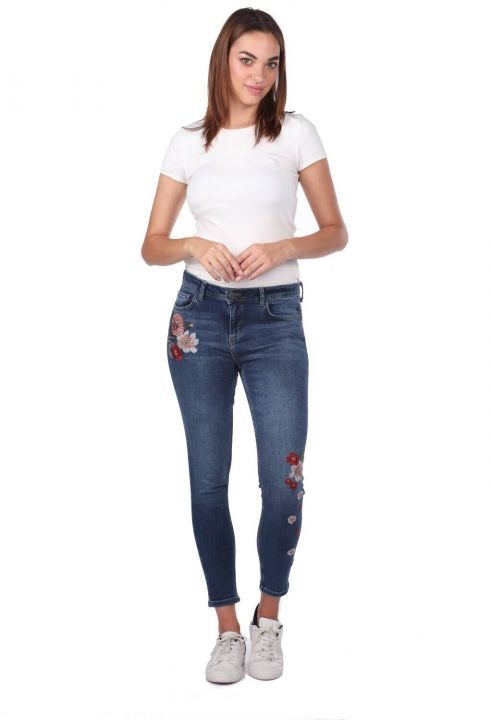 Blue White Women's Floral Jean Trousers