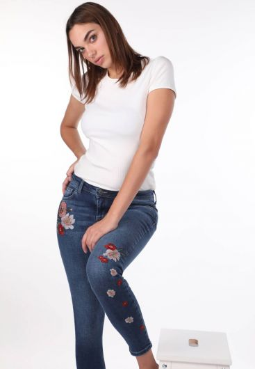 Белые женские джинсовые брюки с цветочным рисунком - Thumbnail