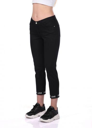 Blue White Leg Detailed Black Jean Trousers - Thumbnail