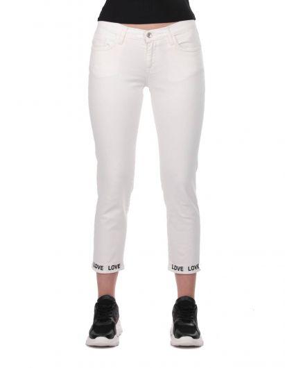 أزرق أبيض مفصل الساق امرأة بيضاء بنطلون جان - Thumbnail