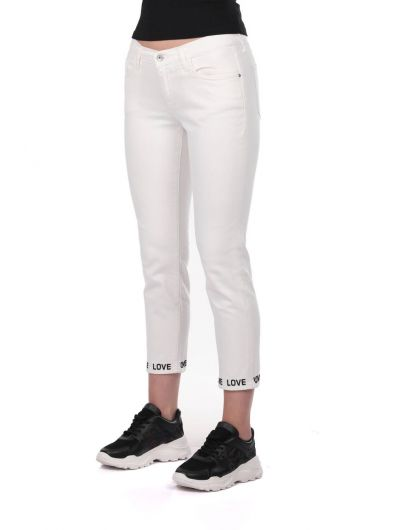 BLUE WHITE - Blue White Leg Detailed Woman White Jean Trousers (1)