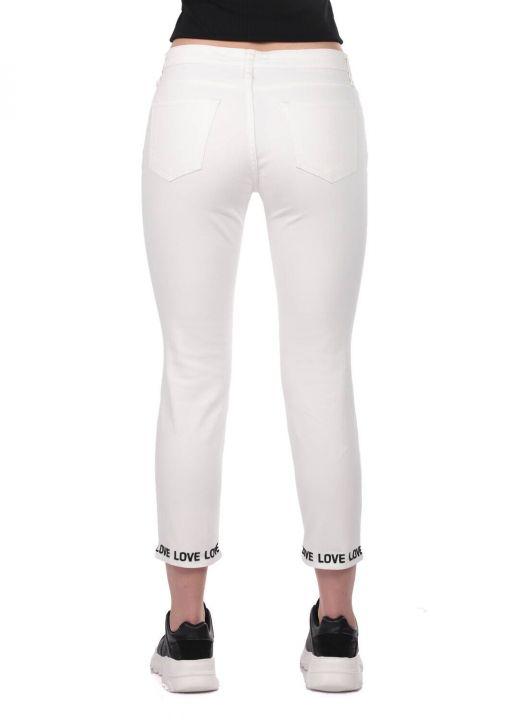 Blue White Leg Detailed Woman White Jean Trousers