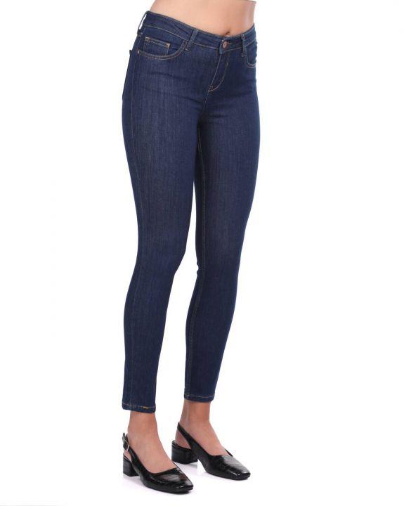 Blue White Women's Mid Waist Dark Jean Trousers