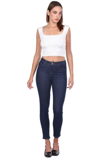 Blue White Women's Mid Waist Dark Jean Trousers - Thumbnail