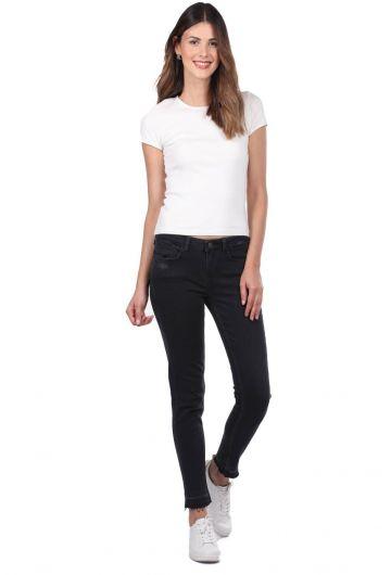 Blue White Women Black Jeans - Thumbnail
