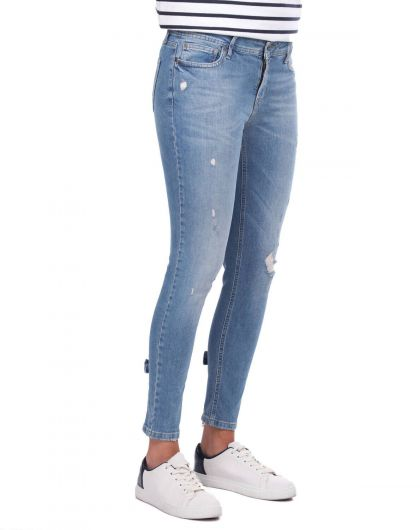 BLUE WHITE - Сине-белые женские брюки на молнии (1)