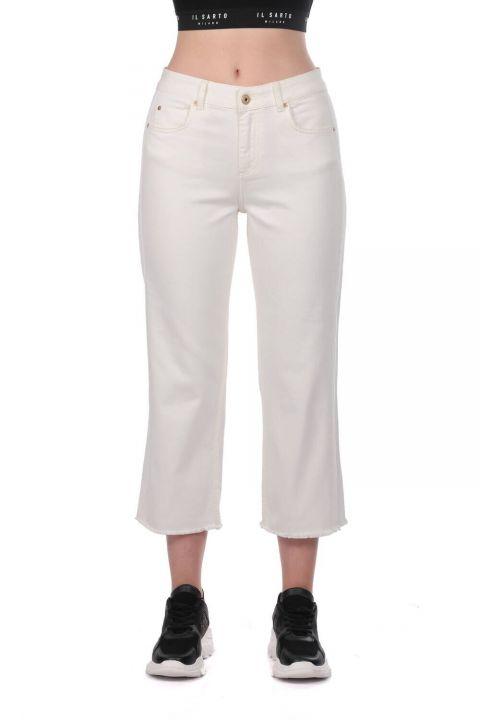 Blue White Women's Wide Leg White Jean Trousers