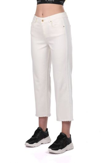 BLUE WHITE - Blue White Women's Wide Leg White Jean Trousers (1)