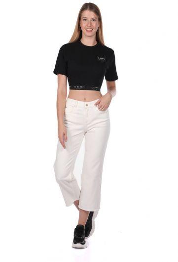 Blue White Women's Wide Leg White Jean Trousers - Thumbnail