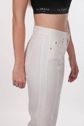 Белые белые джинсовые брюки с широкими штанинами для женщин - Thumbnail