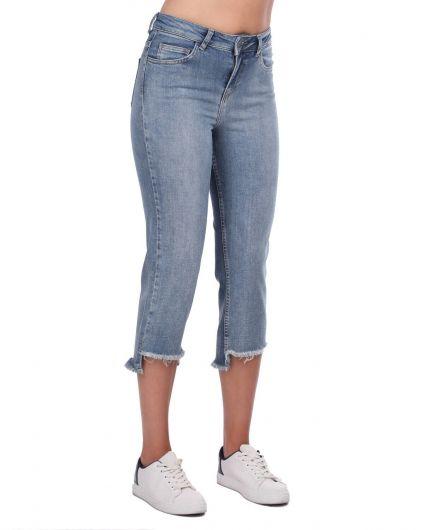 Blue White Women's Cutout Trousers - Thumbnail