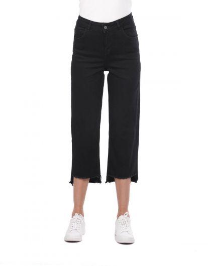 بنطلون جينز أسود نسائي أزرق أبيض - Thumbnail