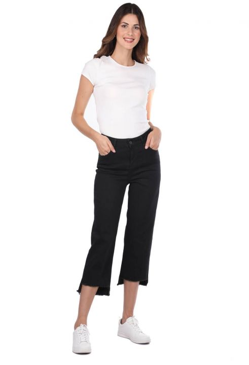 بنطلون جينز أسود نسائي أزرق أبيض