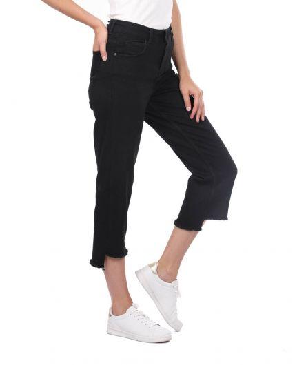 BLUE WHITE - Синие белые женские черные джинсовые брюки с вырезом (1)