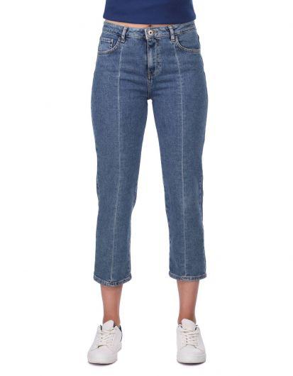 Blue White Women's Stripe Detail Jean Trousers - Thumbnail