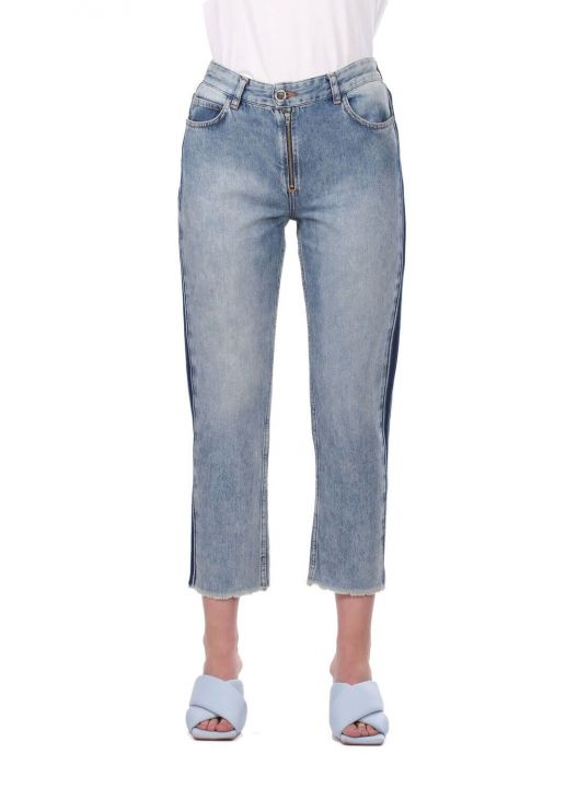Blue White Women's Cut-To-Leg Banded Jean Trousers