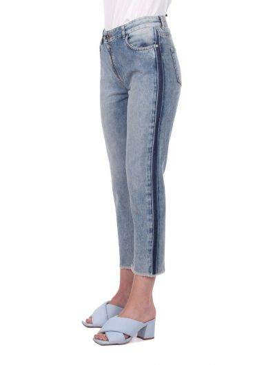 BLUE WHITE - Blue White Women's Cut-To-Leg Banded Jean Pants  (1)