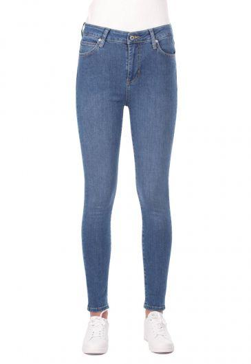 Blue White High Waist Women Jean Trousers - Thumbnail
