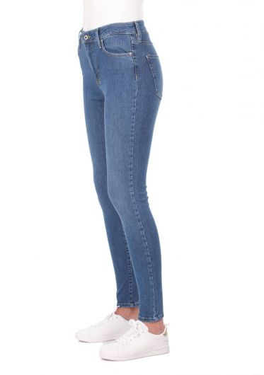 BLUE WHITE - Blue White High Waist Women Jean Trousers (1)