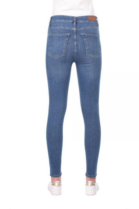 Blue White High Waist Women Jean Trousers