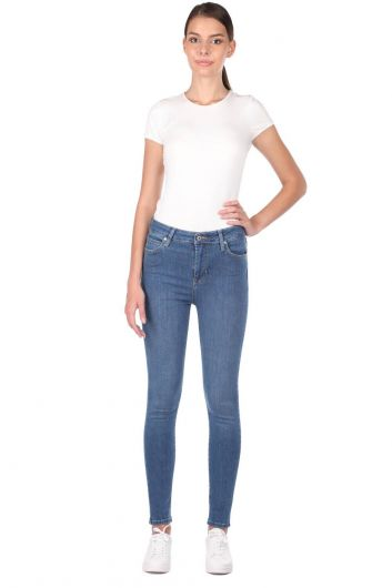 Синие белые женские джинсовые брюки с высокой талией - Thumbnail
