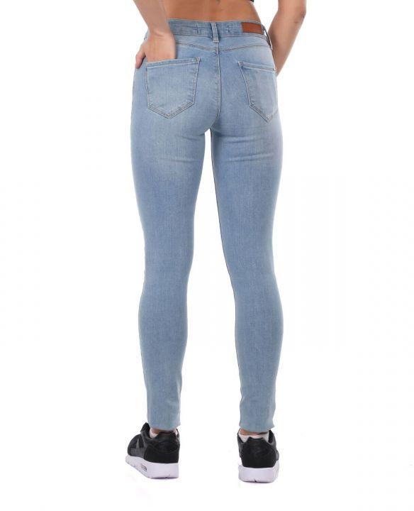 Синие белые женские джинсовые брюки
