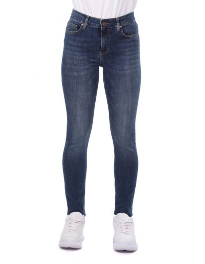 بنطلون جينز نسائي أزرق أبيض - Thumbnail