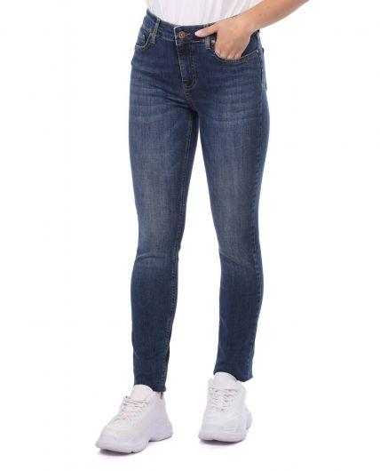 BLUE WHITE - بنطلون جينز نسائي أزرق أبيض (1)