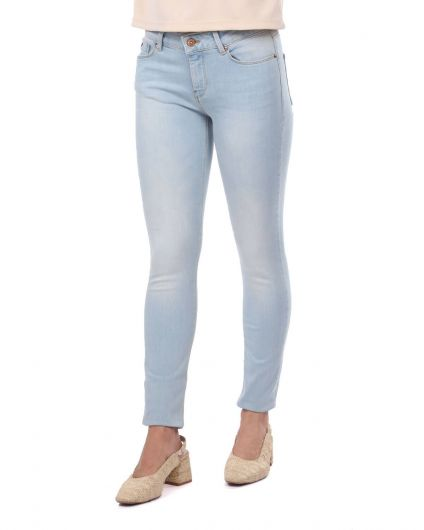 BLUE WHITE - Blue White Women Light Color Jean Trousers (1)