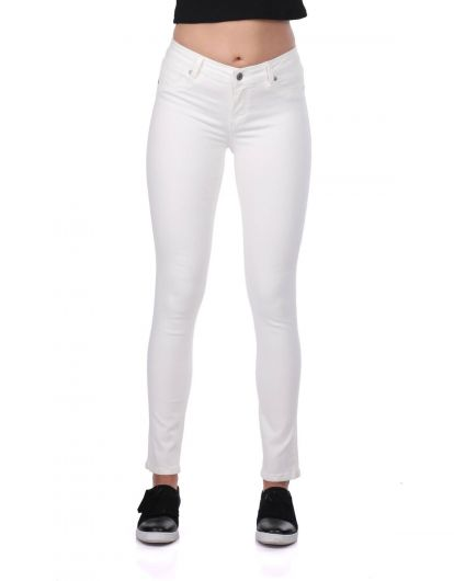 Blue White Women's White Skinny Jeans - Thumbnail