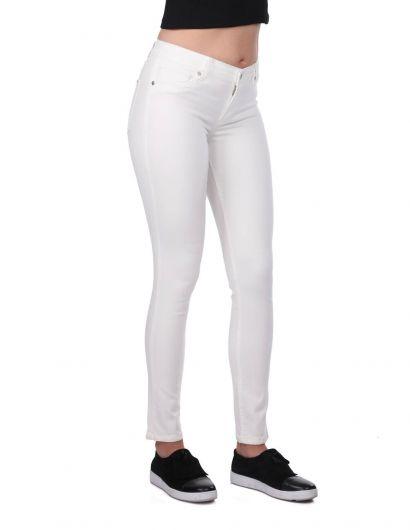 Синие белые женские белые джинсы скинни - Thumbnail