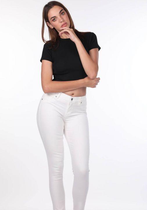 Синие белые женские белые джинсы скинни