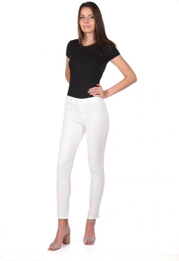 Blue White Women's White Jean Trousers - Thumbnail