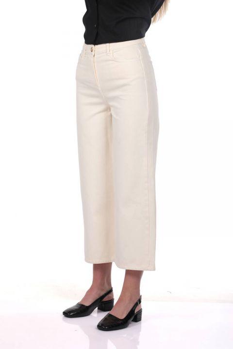 Blue White Women's Wide Leg Ecru Jean Trousers