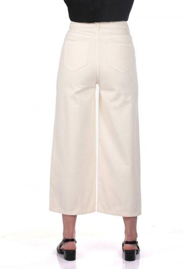 Blue White Women's Wide Leg Ecru Jean Trousers - Thumbnail