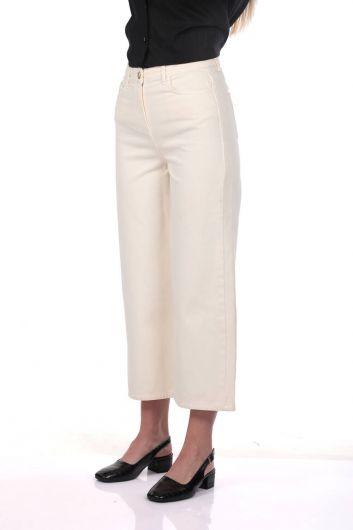 Белые женские широкие экрю джинсовые брюки - Thumbnail