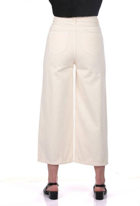 Белые женские широкие экрю джинсовые брюки