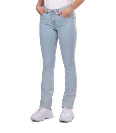 BLUE WHITE - Голубые белые женские легкие джинсовые брюки стандартного кроя (1)