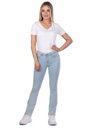 Голубые белые женские легкие джинсовые брюки стандартного кроя - Thumbnail