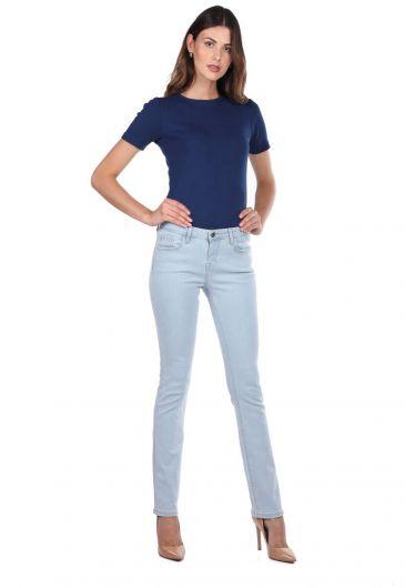 بنطلون جينز خفيف أزرق وأبيض للنساء - Thumbnail