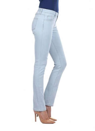 BLUE WHITE - Blue White Regular Fit Women Light Jean Trousers (1)
