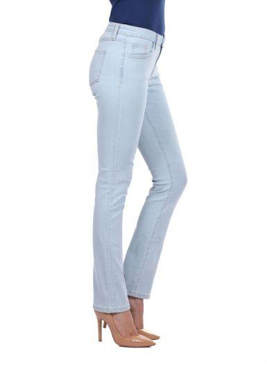 BLUE WHITE - Голубые белые легкие джинсовые брюки стандартного кроя (1)