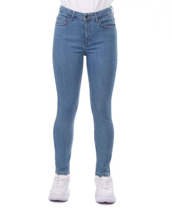 بنطلون جينز نسائي أزرق أبيض