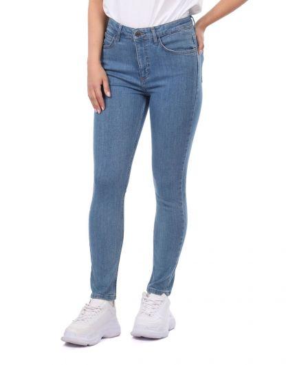 BLUE WHITE - Blue White Women's Skınny Jeans (1)