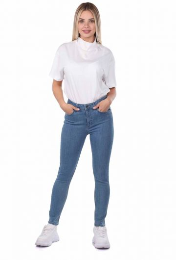 Blue White Women's Skınny Jeans - Thumbnail